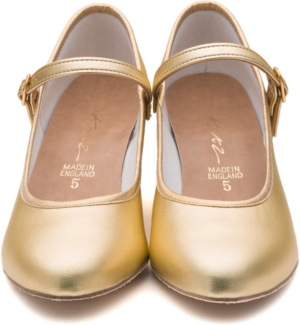Katz Dancewear Ladies Shiny Gold Metallic PU Suede Sole Character Stage Showtime 2 Heel Dance Ballroom Shoes