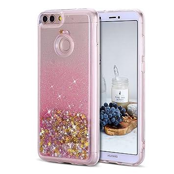Caselover Funda Huawei P Smart, 3D Bling Silicona TPU Arena Movediza Carcasa para Huawei P Smart Glitter Líquido Brillar Lentejuelas Suave ...