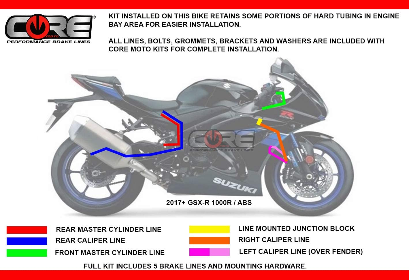 5 lines Core Moto Brake Lines for Suzuki GSXR 1000 GSXR1000 by Sixty61 Black ABS Only 2017-2019 Stainless Steel Front-Rear Kit
