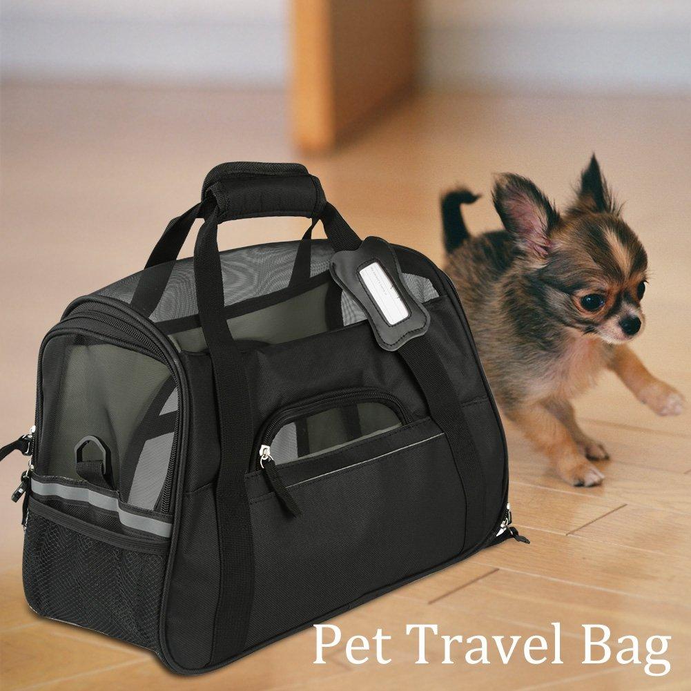 S-Rosa SOULONG Bolsa de Transporte para Perros y Gatos Transport/ín Plegable de Viaje para Mascotas Bolsa de Malla con Correa de Hombro
