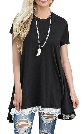 4b2ccab6c1b Tunic Shirt Women, Casual Flowy Lace Short Sleeve Tunic Tops for Leggings  (Black S