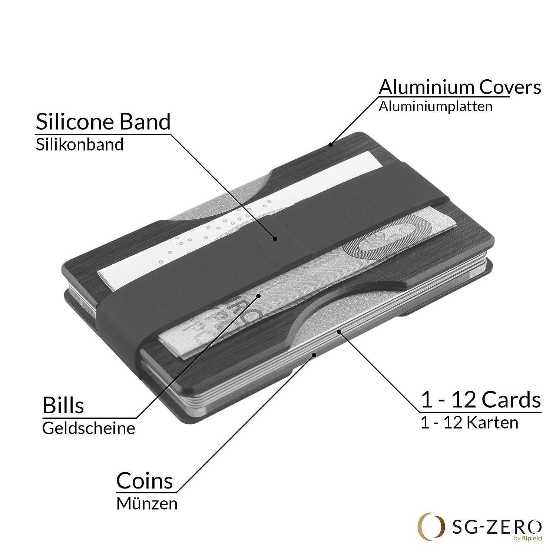 3d723342ab969 Herren Kreditkartenetui mit Geldklammer und Münzfach aus Aluminium -  Geldbeutel mit RFID Schutz für 1-12 Karten