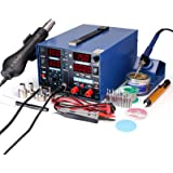 YIHUA 853D 2A USB SMD Hot Air Rework Soldering Iron Station, DC Power Supply 0-15V 0-2A with 5V USB Charging Port and 35 Volt