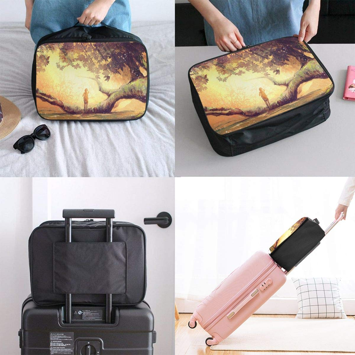 Travel Luggage Duffle Bag Lightweight Portable Handbag Forest Girl Large Capacity Waterproof Foldable Storage Tote