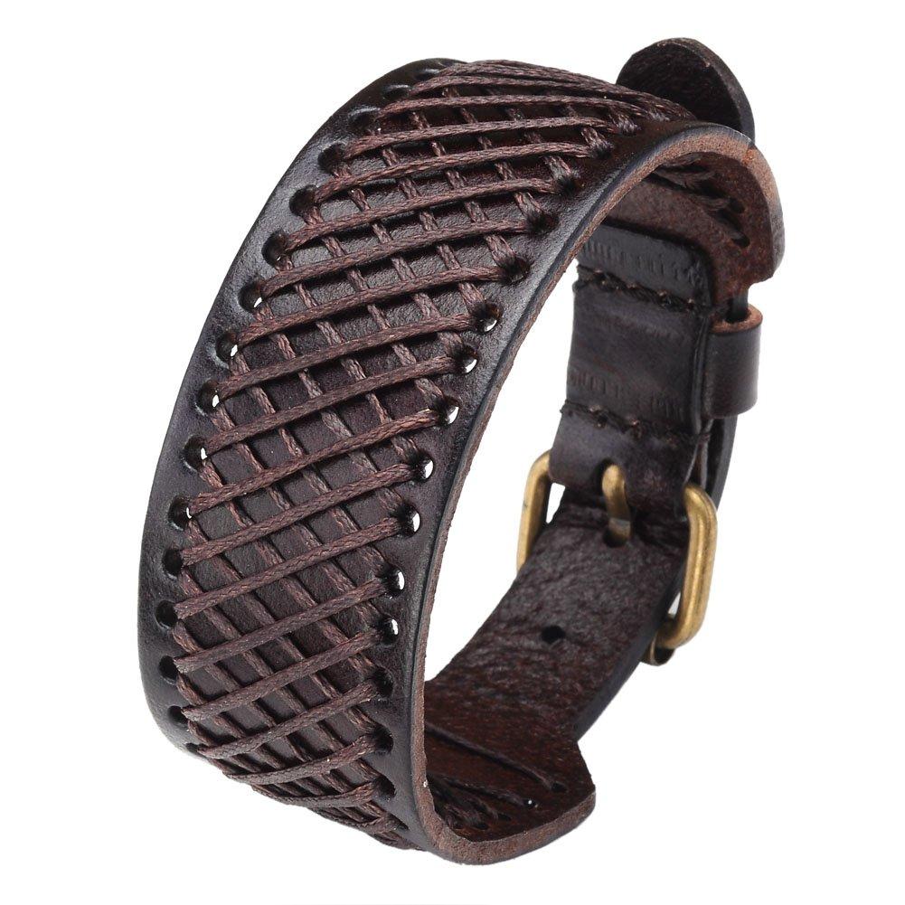 Zysta Genuine Leather 30mm Wrist Wide Bangle Braided Cuff Bracelet 7.5