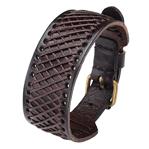 Zysta Genuine Leather Braided Wristband