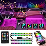 CT CAPETRONIX Interior Car Lights, Car Led Strip Lights Interior with APP and IR Remote, Upgrade 2-in-1 4pcs Waterproof RGB 4
