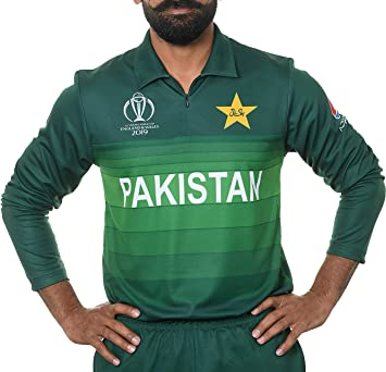 2d4edc80 AJ Sports 2019 ICC Official Pakistan ODI Cricket World Cup Jersey Long  Sleeve Shirt (Medium
