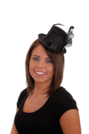 Amazon.com  Jacobson Hat Company Pearl and Feather Black Mini Top ... 8879ae429d7a