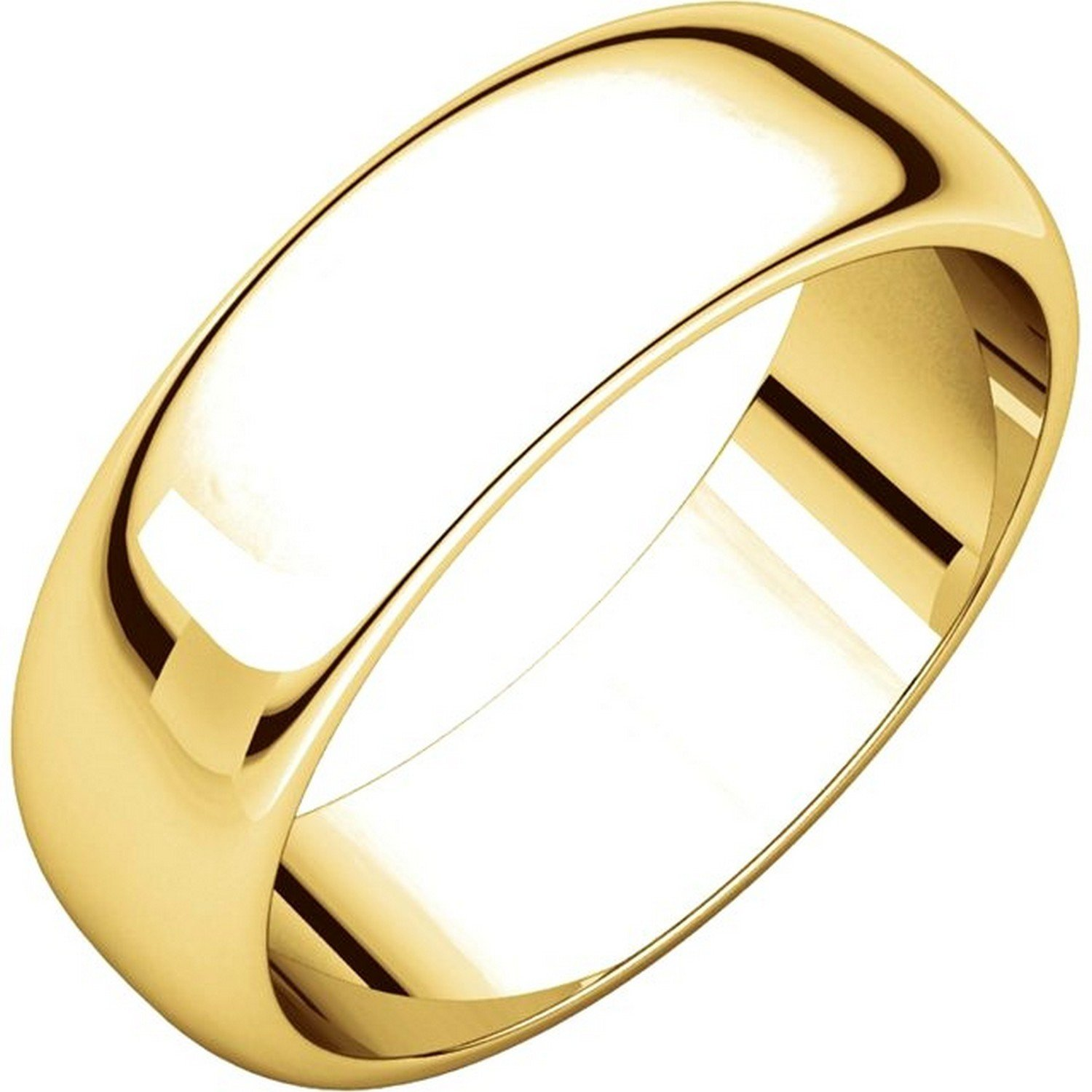 Men's and Women's 18k Yellow Gold, 6mm Wide, High Dome, Plain Wedding Band - Size 8.5