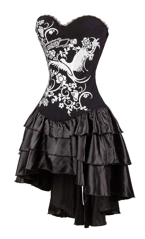 caafbc8e8f9 Amazon.com  Killreal Women s Strapless Steampunk Gothic Corset Dress  Halloween Costume Black Small  Clothing