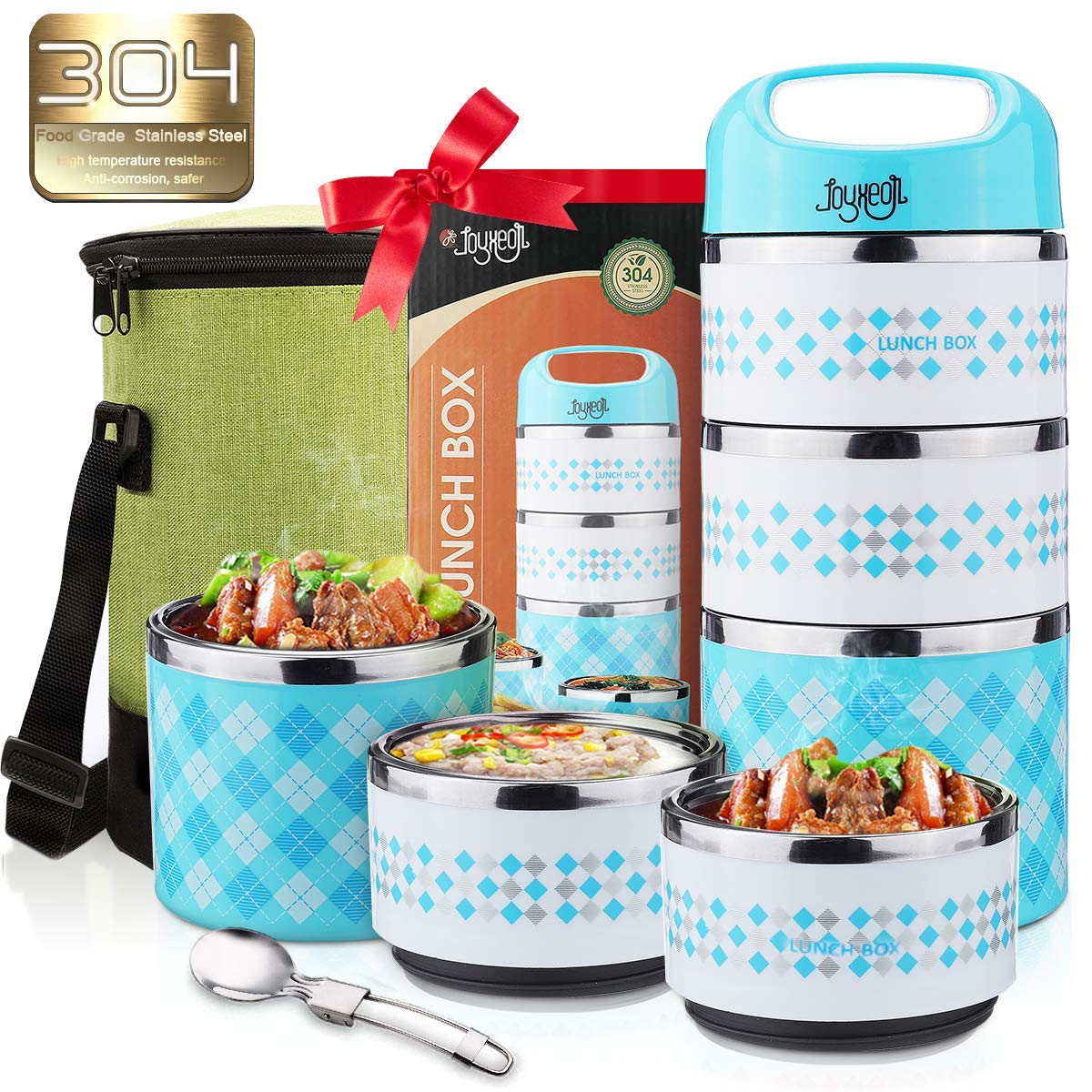 Leak-Proof Food//Soup Flask with Extra Pioneer Vacuum Insulated Lunch Box 2 Tier