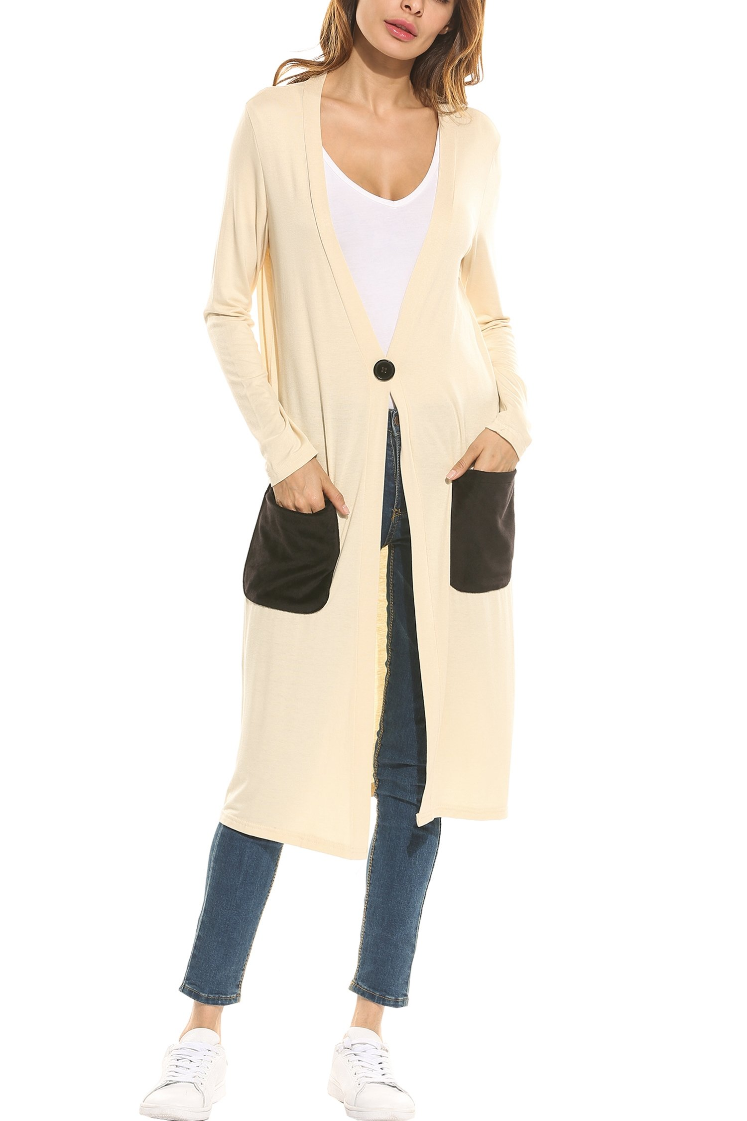Meaneor Women\'s Open Front Long Sleeve Waterfall Classic Knit Cardigan Off White M
