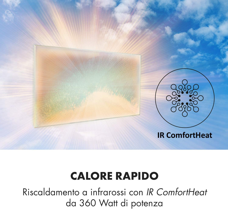 Carbon Crystal Infrared Pannello di Riscaldamento 600W Infrarossi Termostato Antiallergico Silenzioso KLARSTEIN Wonderwall Air Art Bianco Fumo IR ComfortHeat 101x60cm Art 60