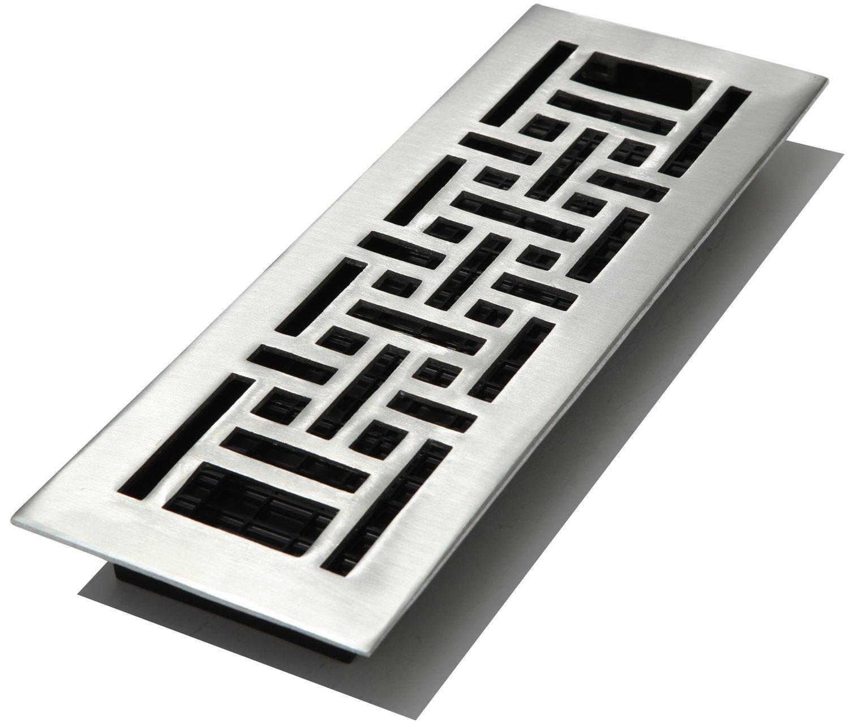 Decor Grates AJA414-NKL 4-Inch by 14-Inch Oriental Aluminum Nickel Floor Register