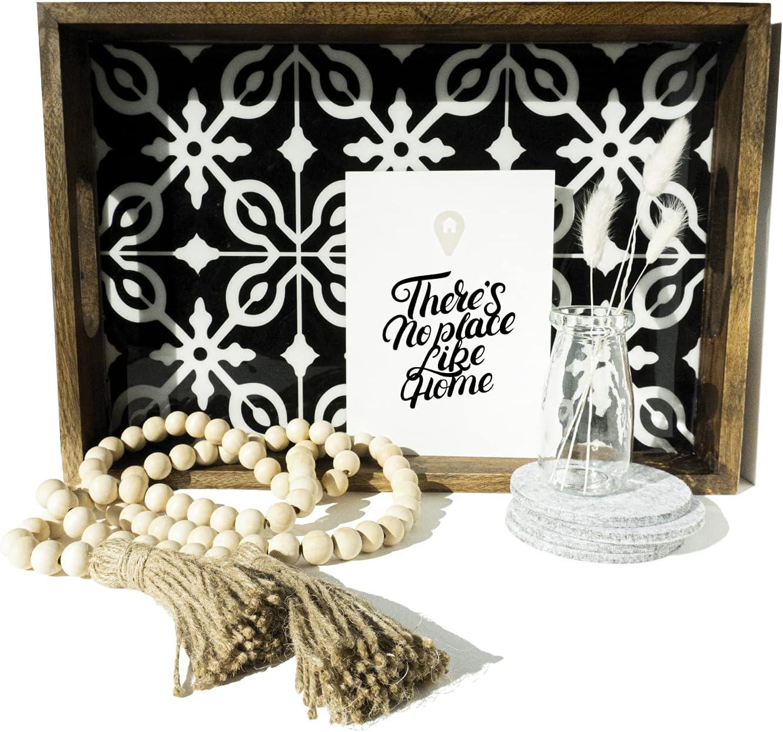 UPMODERN Housewarming Gift - Coffee Table Tray, Wood Bead Garland, Bunny Tail Grass, Felt Coasters - Housewarming Gift New Home Decor, Wedding Gift, House Warming Presents, Closing Gift