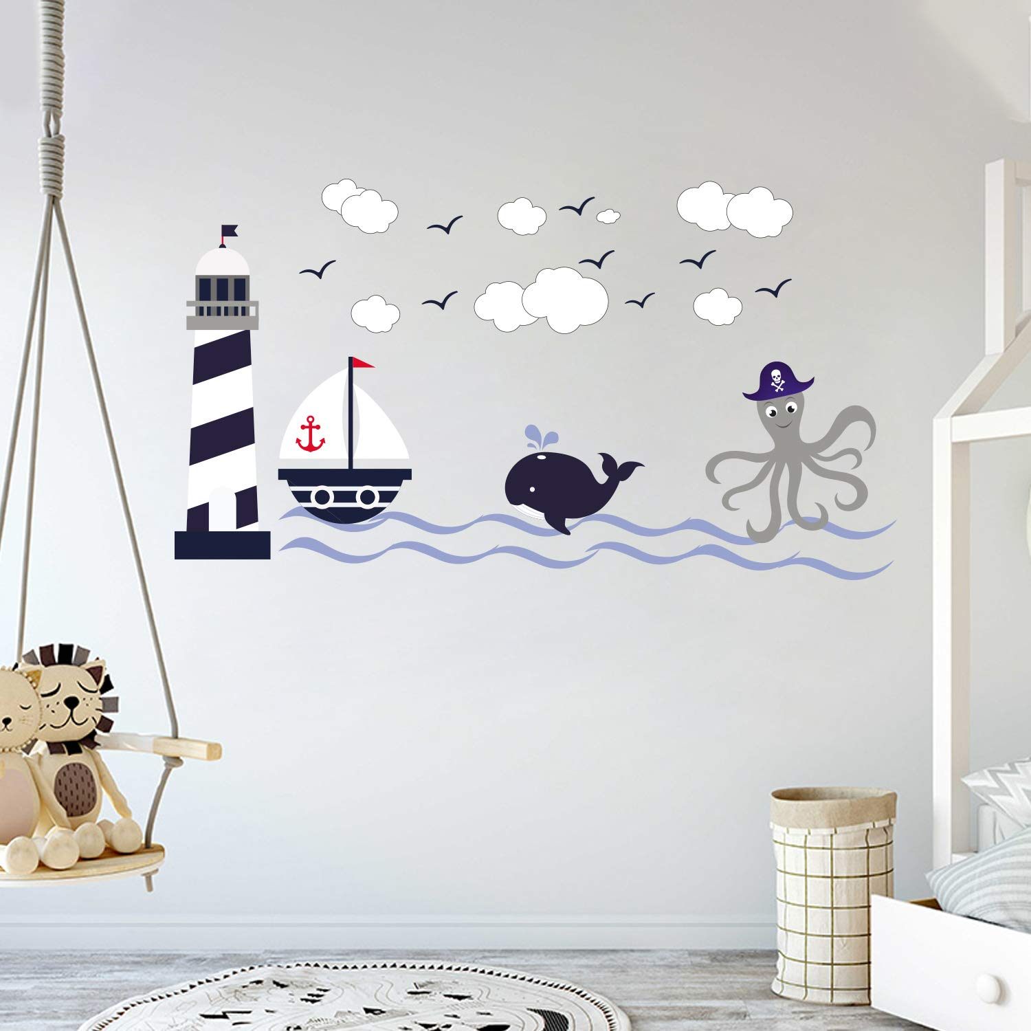 Nautical Theme - The Wonderful Sea World Sailor Children's Room Kids Room Baby Nursery Playroom Wall Decal Mural Vinyl Transfer Wall Art (AM) (Wide 58'' x 32'' Height) by cryptonite