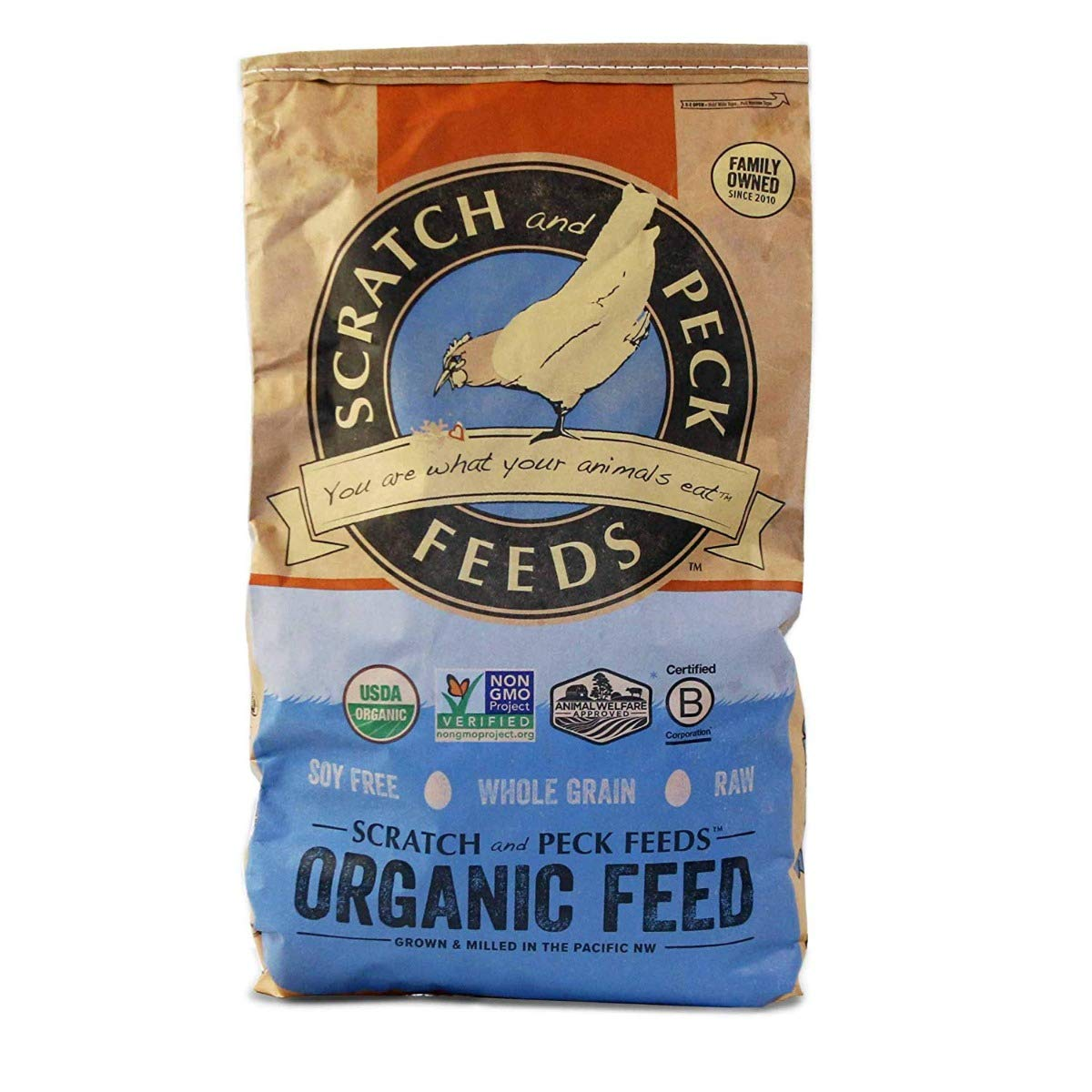 Naturally Free Organic Layer Feed for Chickens and Ducks - 18% Protein - 40-lbs - Non-GMO Project Verified, Soy Free and Corn Free - Scratch and Peck Feeds by SCRATCH AND PECK FEEDS YOU ARE WHAT YOUR ANIMALS EAT