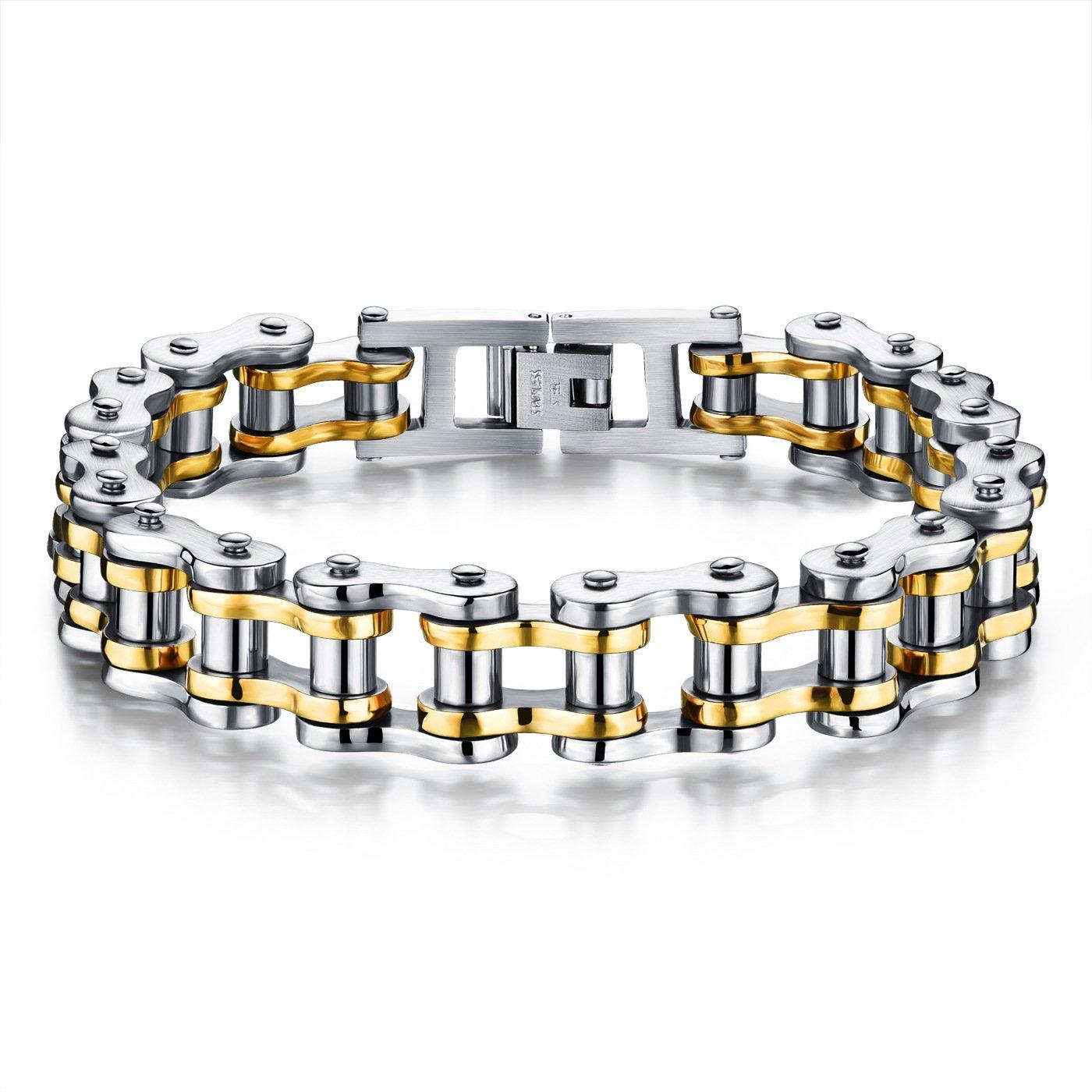 Star Jewelry Stainless Steel bike Chain Bracelet Punk Rock Link Wristband Chain Bracelets Bangle 8.5 Inch tg187-s