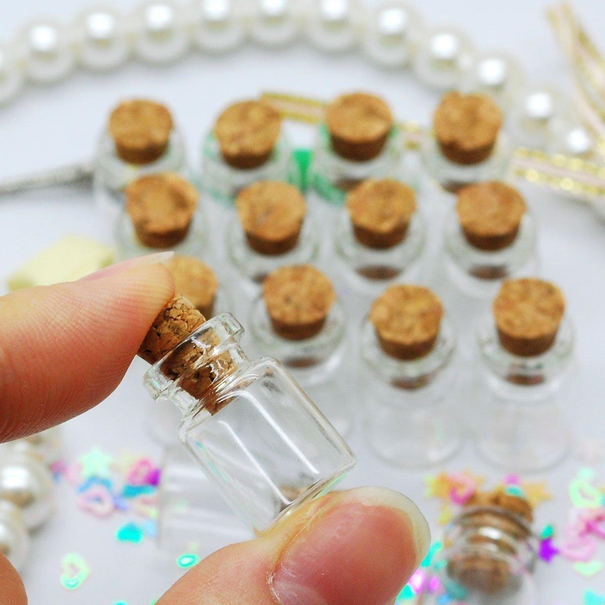 Nicebuty 50PCS 0.5/ml Dimensioni 11/x 18/x 6/mm Small mini bottigliette in vetro con tappo in sughero//Message Weddings wish Jewelry party Favors/// Small mini bottigliette in vetr /size