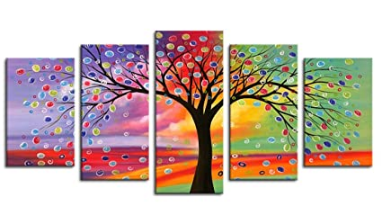Canvas Wall Art Tree Of Life Abstract Painting Canvas Prints 5 Pieces Canvas Art Framed Ready To Hang Contemporary Pictures Sunset Flower Lucky Tree