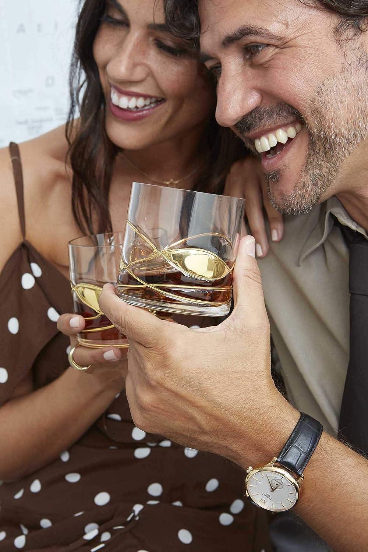 ANTONI BARCELONA Vaso de Whisky Cristal pintaado en Oro 24k de lujo soplado y pintado a mano - juego de 2 - Regalos Ideales para mujer/hombre: Amazon.es: ...