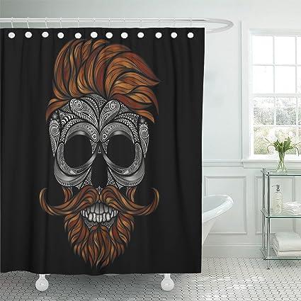 Cortina de ducha Emvency 72 x 72 negro con dibujo rojo muerto ...