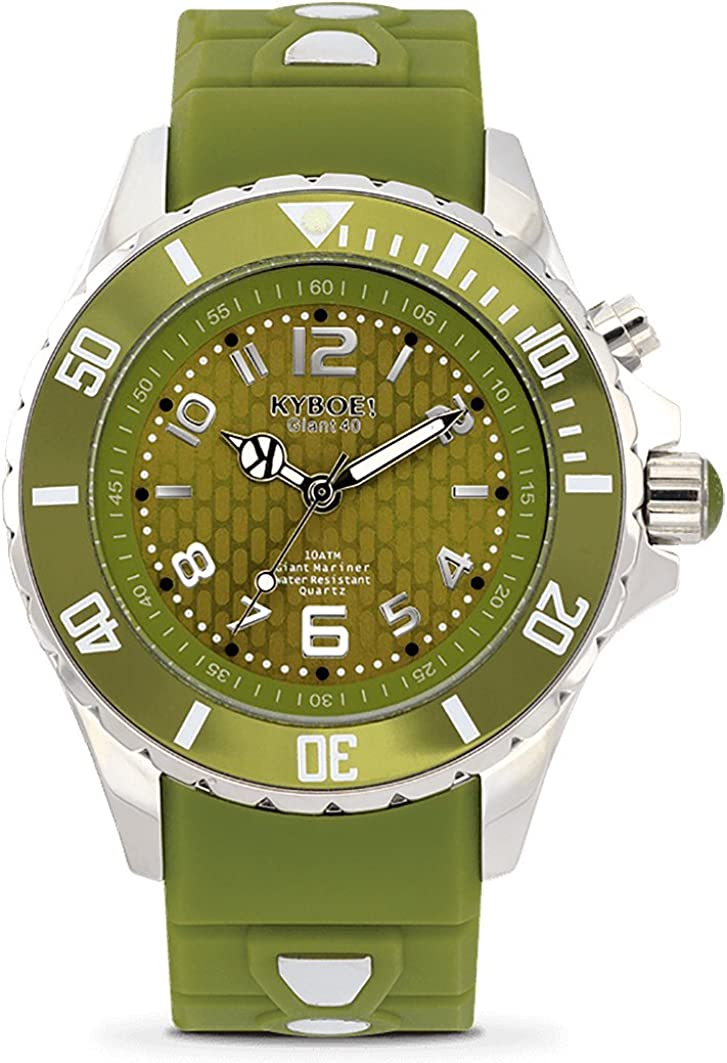 KYBOE Power Stainless Steel Quartz Watch with Silicone Strap, Green, 20 Model SC.40-004.15