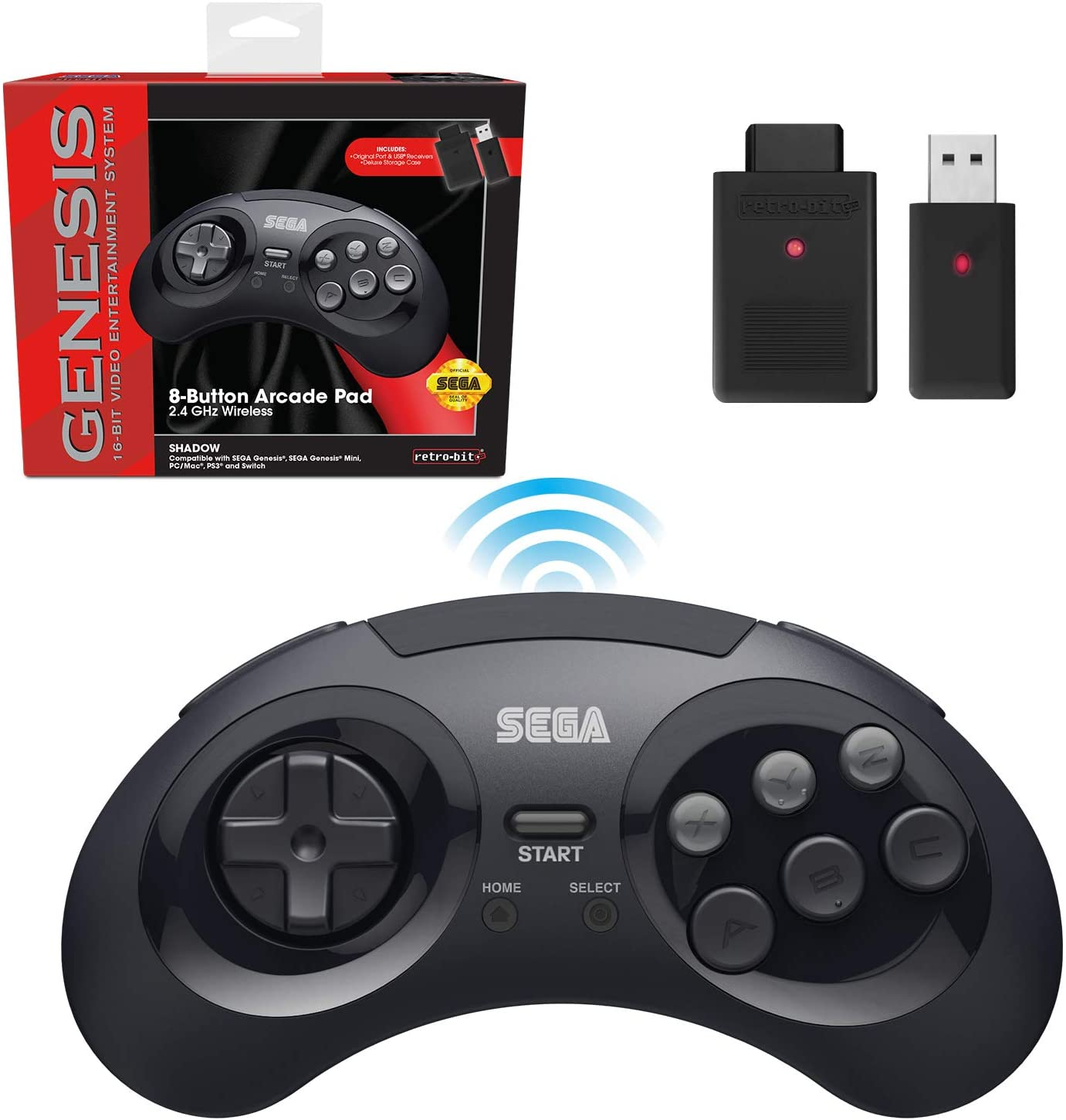 Retro-Bit Sega Genesis 2.4 GHz Wireless Controller 8-Button Arcade Pad for Sega Genesis Original/Mini, Switch, PC, Mac – Includes 2 Receivers & Storage Case - Black