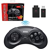 Retro-Bit Sega Genesis 2.4 GHz Wireless Controller 8-Button Arcade Pad for Sega Genesis Original/Mini, Switch, PC, Mac…