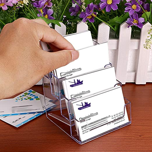 BTSKY 2 soportes de tarjetas de visita de acrílico - 4 bolsillos escritorio transparente soporte de tarjetas de visita encimera acrílico índice tarjeta ...
