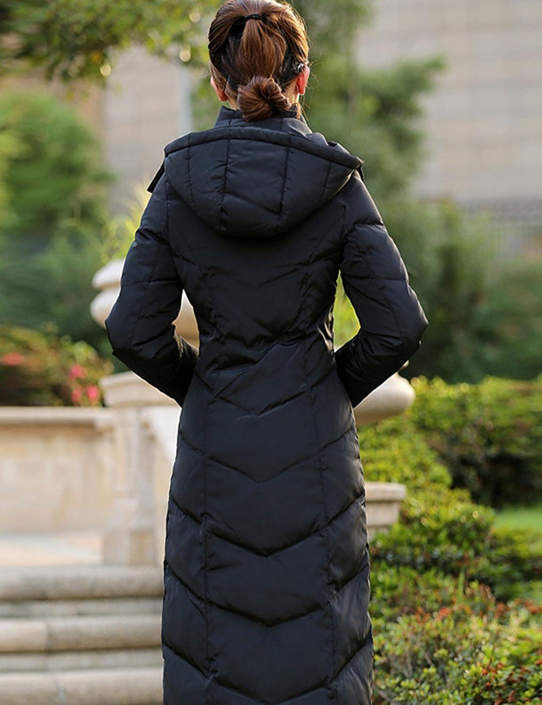 Allonly Women Slim Down Jacket Long Beyond Knee Thicken Padded Coat Winter