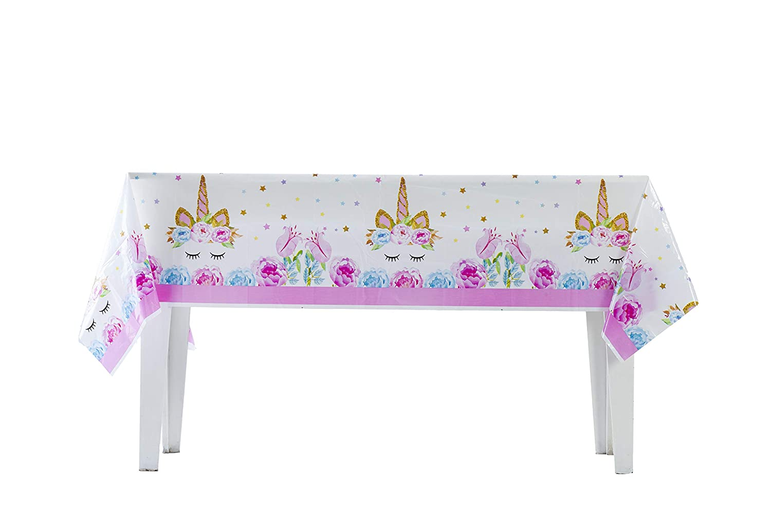 4 Pack Plastic Tablecloth Pink /& Light Blue Birthday Decorations Baby Shower Gender Reveal Unicorn Party Supplies Girl /& Boy 70 X 42 Disposable Table Cover for Rectangle Tables 4