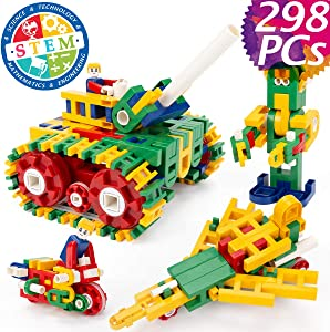 cossy STEM Learning Toy with Big Blocks, Engineering Construction Building Blocks 298 Pieces for Boys and Girls Ages 4 5 6 Years Old 298 pcs (Upgrades)