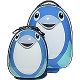 FERGÉ® 1x Kinder-Trolley & 1x Rucksack Dolphin Kinder-Koffer Hartschale   Handgepäck-Koffer mit Rollen (360°)   Koffer Delphin   PREMIUM-QUALITÄT