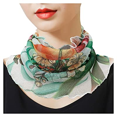Simayixx Floral Chiffon Magic Turban Scarf Neck Gaiter for Women Outdoor Cycling Bib Dust UV Protection Dustproof (E, Free Size): Clothing