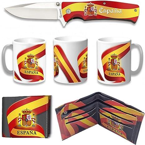 Tiendas LGP Albainox – 39217 –Set Navaja ALBAINOX Bandera de España, Taza Diseño 3D Bandera de España, Cartera Diseño 3D Bandera de España Ideal para Caza, Pesca, Camping, Supervivencia y Bushcraft: Amazon.es:
