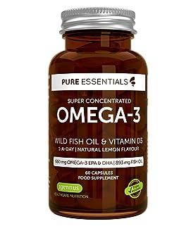 Pure Essentials Aceite de Pescado Salvaje Omega-3 410 mg EPA y 250 mg DHA por cápsula y Vitamina D3, sabor a limón, 360 cápsulas: Amazon.es: Salud y cuidado ...