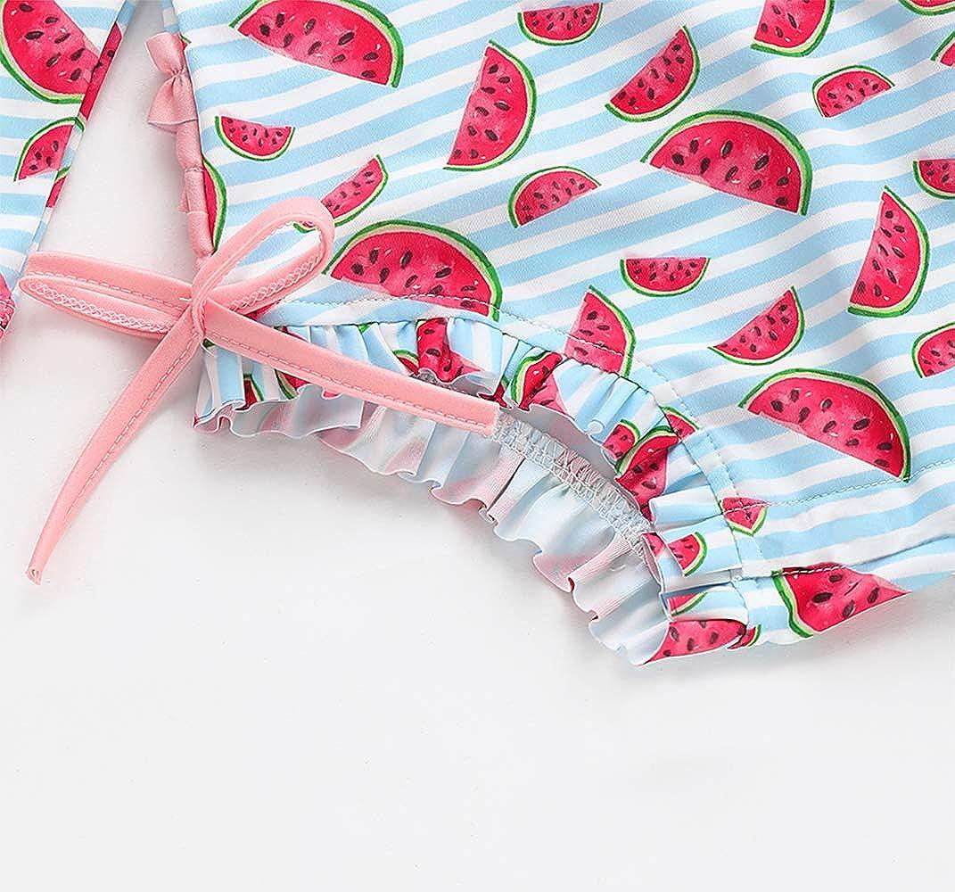 LAMOSKY Baby Toddler Girls Sun Protection Long Sleeve One Piece Swimsuit with Zipper Beach Swimwear Ruffles Bathing Suit