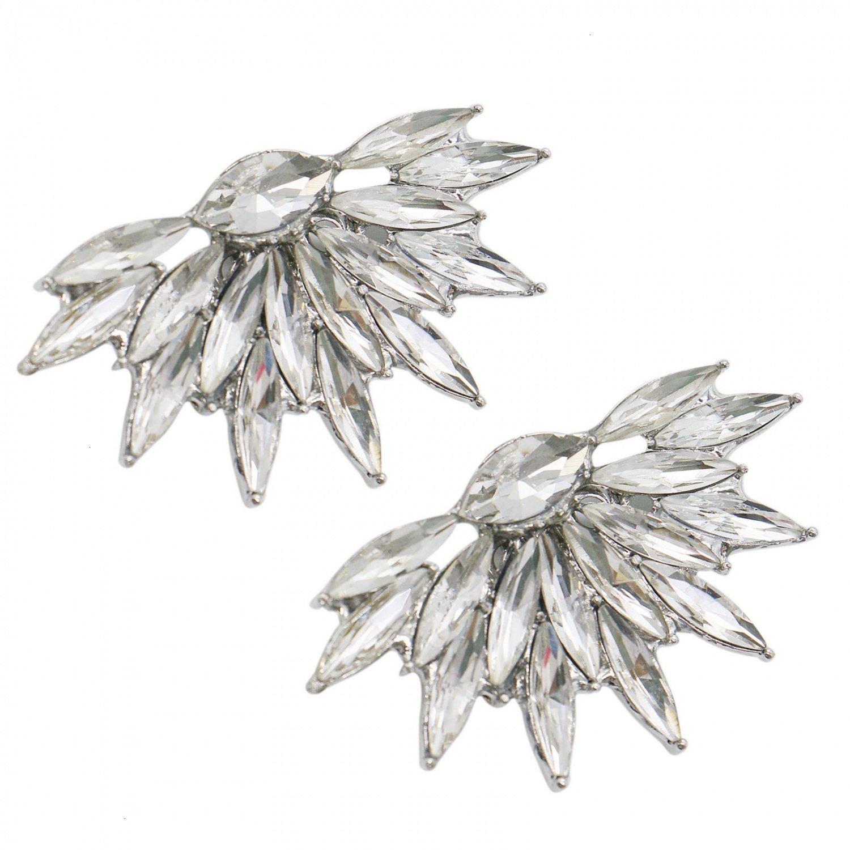 HUELE 2 pcs Decorative Rhinestones Crystal Shoe Clips for Bridal Wedding Party Shoe Decoration