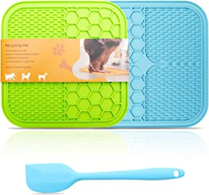 Ulmpp Dog Lick Mat with Suction Cups Dog Slow Feeders Dog Licking Mat Pet Mat Anxiety Relief Dog Cat Lick Training Licking Mat for Food, Yogurt, Peanut Butter Set of 2