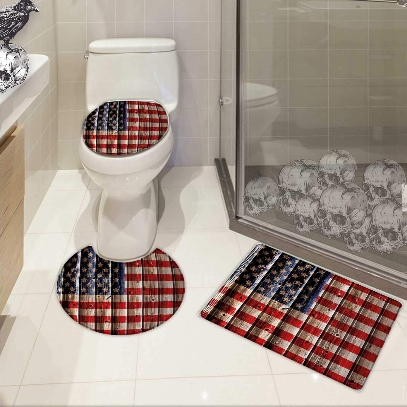 29250dfd0446 Carl Morris 4th of July toilet rug and mat set Rustic Backdrop with  American Flag Design Wooden Boards Design 3D digital printing Rug Set White  Navy ...