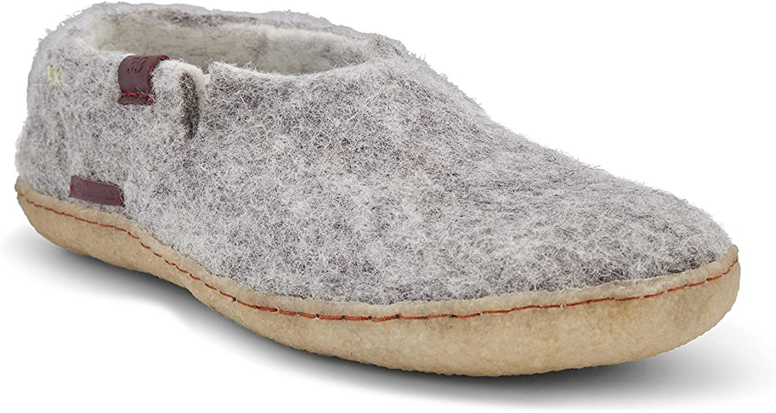a766eb25356e0 Hand Felted Wool Slippers for Men - Rubber Sole - Size 10 - Grey -  Fairtrade Classic Boot