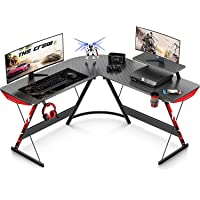 L Shaped Gaming Desk 130cm L Shaped Desk, Carbon Fiber Coated, Gaming Desk Table with Large Monitor Riser Stand for Home…