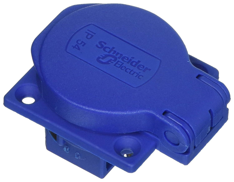 Schneider Electric Pkn51b Pratika Base prise NF, 50 mm x 50 mm Base, 2P + T Bâ tons, IP54, 10– 16 A, 50/60 Hz, 250 V, Bleu 50mm x 50mm Base 2P + T Bâtons 10-16A 50/60Hz 250V
