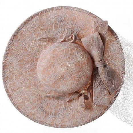 mjl Sombrero - Tocados de Novia de otoño e Invierno para Mujer Batas de Lino Gorras