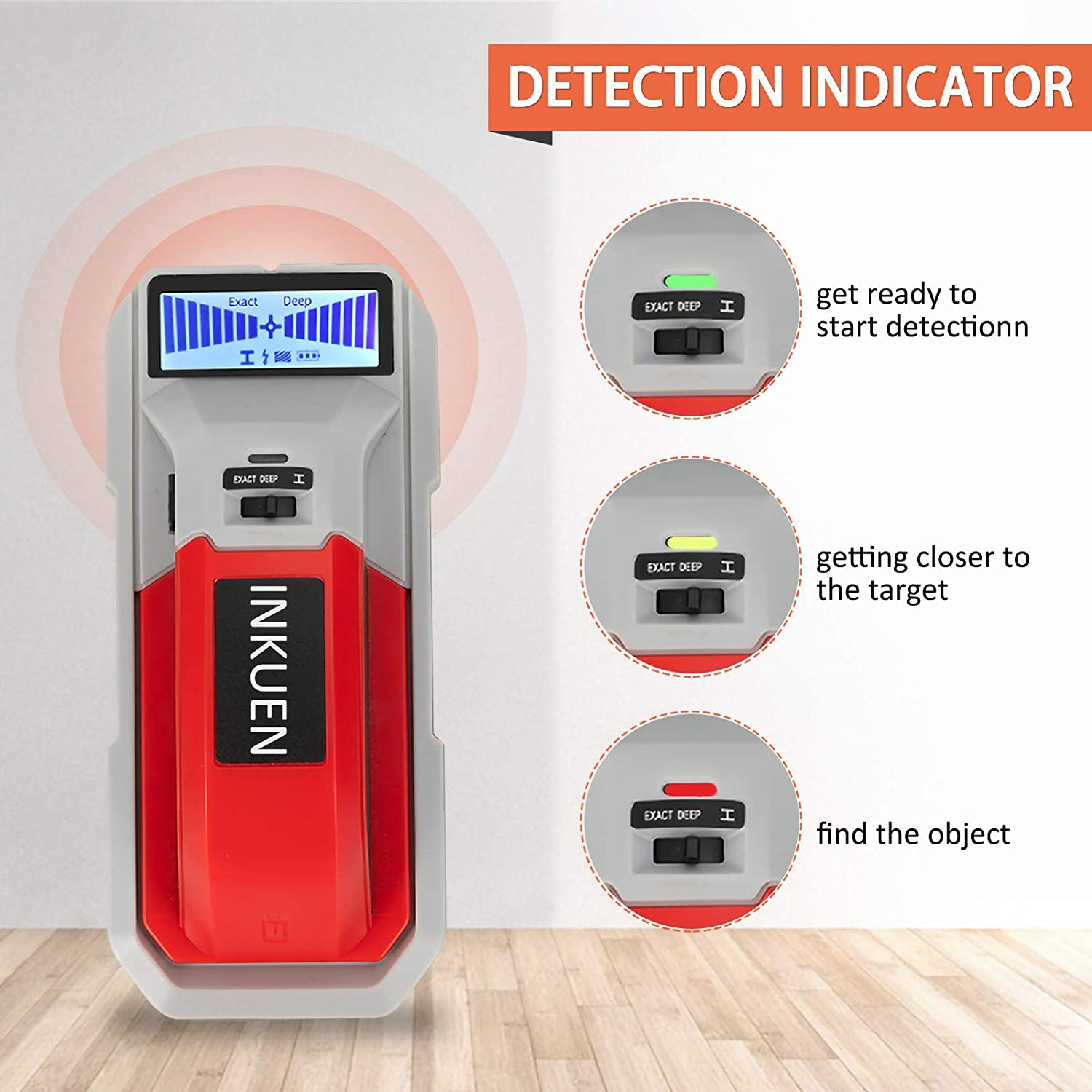 INKUEN Stud Finder Wall Scanner Electronic Stud Sensor Wall Detector Center Finding with LCD Display for Wood AC Wire Metal Studs Joist Detection Matte Red Audio Alarm /& Indicator Light