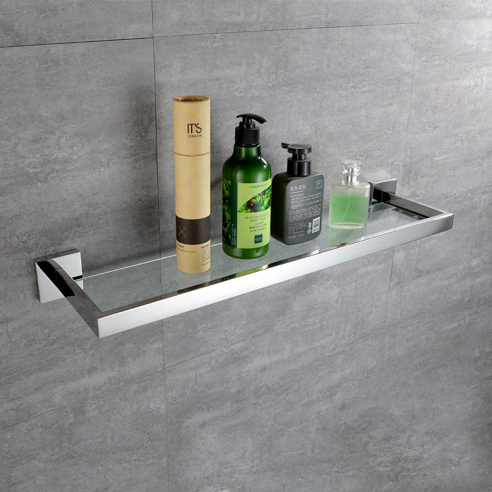 TURS Bathroom Glass Shelf Rack SUS 304 Stainless Steel Contemporary Tempered Glass Shelves Wall Mount,Q7ZWJ-P