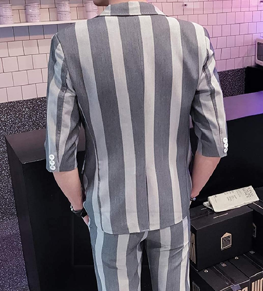 Losait Men Skinny Business Striped Lapel Blazer Jacket /& Long Pants