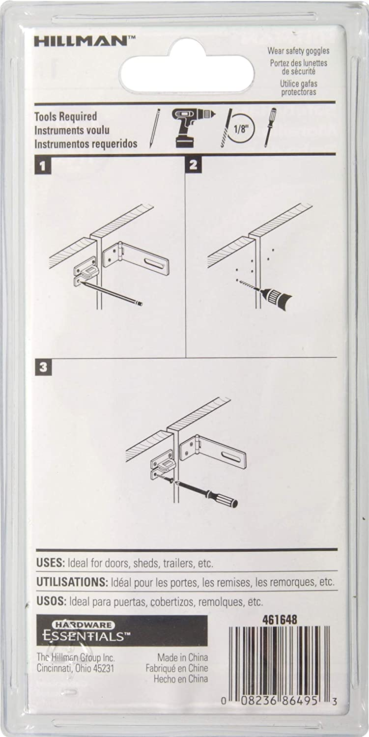 Amazon.com: Hillman Hardware Essentials 851435 Fixed Staple Safety Hasp Galvanized 4-1/2